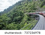train in the rainforest ...   Shutterstock . vector #737236978