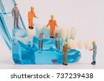 miniature people clean tooth or ... | Shutterstock . vector #737239438