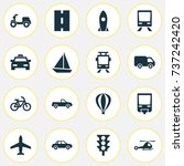 transportation icons set.... | Shutterstock .eps vector #737242420