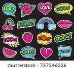 fashion patch set on black... | Shutterstock .eps vector #737246236