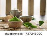 matcha. organic green matcha... | Shutterstock . vector #737249020