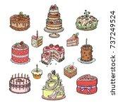 birthday or wedding celebration ...   Shutterstock .eps vector #737249524
