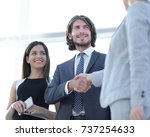 businesspeople  shaking hands... | Shutterstock . vector #737254633