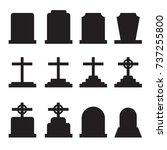 set of tombstones with... | Shutterstock .eps vector #737255800