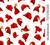 santa red hat seamless pattern... | Shutterstock .eps vector #737256103