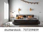 halloween party in bedroom  ... | Shutterstock . vector #737259859