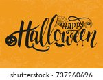 Stock vector vector illustration of halloween on yellow background happy halloween text banner poster for 737260696