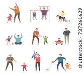 happy hours of children with... | Shutterstock .eps vector #737261629