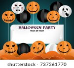 pumpkins with different... | Shutterstock .eps vector #737261770