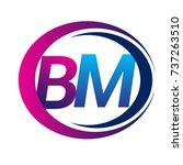 initial letter logo bm company... | Shutterstock .eps vector #737263510