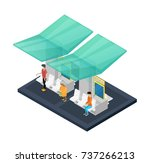 town waiting station isometric...   Shutterstock .eps vector #737266213