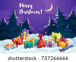 christmas gift box in snow... | Shutterstock .eps vector #737266666
