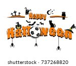 Stock vector banner happy halloween and soccer ball on isolated background vector illustration 737268820