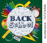 school supplies in a circle on... | Shutterstock .eps vector #737276500