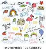 set of colorful doodle on paper ... | Shutterstock .eps vector #737288650