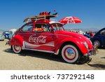 vintage 1960s vw beetle as coca ... | Shutterstock . vector #737292148