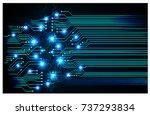 binary circuit board future... | Shutterstock .eps vector #737293834