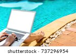 woman bikini using laptop... | Shutterstock . vector #737296954