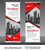 red roll up banner stand... | Shutterstock .eps vector #737303020