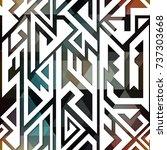 retro geometric seamless pattern   Shutterstock .eps vector #737303668