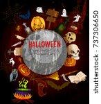 scary haunted halloween... | Shutterstock .eps vector #737306650