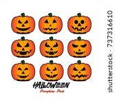 halloween pumpkins vector... | Shutterstock .eps vector #737316610