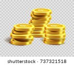 gold coins pile or golden... | Shutterstock .eps vector #737321518
