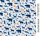seamless pattern  kamchatka... | Shutterstock .eps vector #737323720