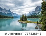 spirit island on maligne lake | Shutterstock . vector #737326948