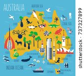 australia cartoon travel map... | Shutterstock .eps vector #737327899