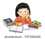 illustration of a kid girl... | Shutterstock .eps vector #737330320