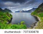 summer natural scene in norway. ... | Shutterstock . vector #737330878