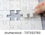 hand holding last piece of... | Shutterstock . vector #737332783