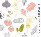 hand drawn doodle vegetables.... | Shutterstock .eps vector #737336419