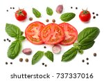 mix of slice of tomato  basil... | Shutterstock . vector #737337016