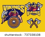 viking mascot set with axes and ... | Shutterstock .eps vector #737338108