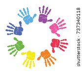 circle spiral of colorful hand... | Shutterstock .eps vector #737340118
