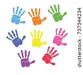 set of colorful hand prints... | Shutterstock .eps vector #737344234