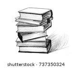 book pile | Shutterstock . vector #737350324
