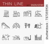 set of factories related vector ... | Shutterstock .eps vector #737355934