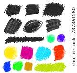set of grunge artistic brush... | Shutterstock .eps vector #737361580
