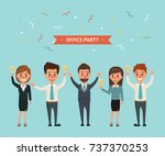 office party celebrating... | Shutterstock .eps vector #737370253