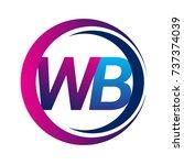 initial letter logo wb company... | Shutterstock .eps vector #737374039