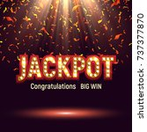 jackpot banner illuminated by... | Shutterstock .eps vector #737377870
