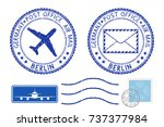 blue postal elements. berlin ... | Shutterstock .eps vector #737377984