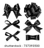 set of decorative black bow... | Shutterstock .eps vector #737393500