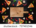 pizza slices  an empty wooden... | Shutterstock . vector #737401546
