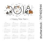 calendar 2018 with different... | Shutterstock .eps vector #737402944