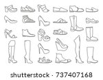 different shoes for men and...   Shutterstock .eps vector #737407168