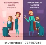 banners set with illustrations... | Shutterstock .eps vector #737407369